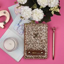 Rose gold passport wallet